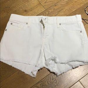 7forallmankind cutoff white denim short